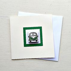 Campervan Card Green, Combi, Splitscreen, VW, Birthday Card, Greeting Card, Blank Card, Magnet Card, Boys Card Cellophane Wrap, Blank Cards, Girl Gifts, Birthday Cards, Greeting Cards, Handmade Gifts, Etsy, Bday Cards, Kid Craft Gifts