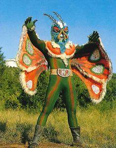 mothman character from Japan Baba Vanga, Japanese Superheroes, Monster Costumes, Japanese Monster, Japanese Costume, Scary Monsters, Mothman, Retro Futurism, Kamen Rider