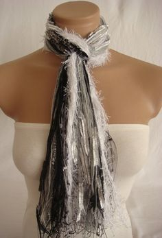 Fringe Scarf Knotted Scarf from Arzus on Etsy. Shop more products from Arzus on Etsy on Wanelo. No Sew Scarf, Scarf Knots, Fringe Scarf, Ted, Scarves, Hairstyle, Knitting, My Style, Crochet