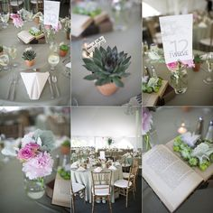 handmade centerpieces by yours truly, and succulent wedding favors potted by me & amir