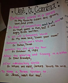 Commas anchor chart