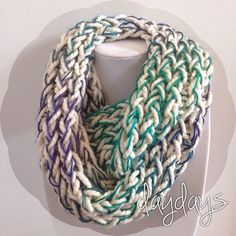 multi cool colored infinity chunky knit scarf on Etsy, $30.00