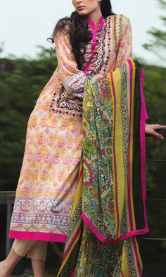 Buy Beige Embroidered Cotton Lawn Dress by Mahnoor by Al-Zohaib Embroidered Lawn Collection 2015