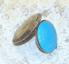 Vintage Compact  Blue Guilloche Art Deco Rouge Makeup Compact Mirror Compact