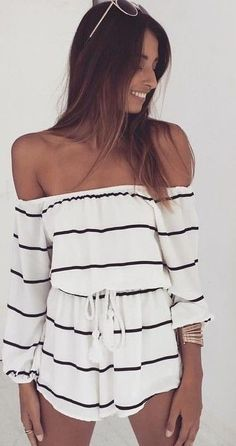 #Summer #Outfits / Off The Shoulder Striped Romper