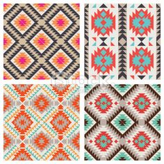 A collection of native american inspired seamless patterns Web Patterns, Ethnic Patterns, Textures Patterns, Fabric Patterns, Print Patterns, Motif Navajo, Navajo Pattern, Pattern Art, Pattern Design