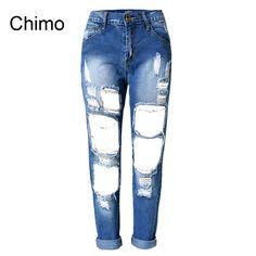 5cfe1a8785 Cheap 2017 Nueva Moda Rasgado Agujeros Lavados Vaqueros Ocasionales  Femeninos Boyfriend Jeans para Mujeres Pantalones Vaqueros