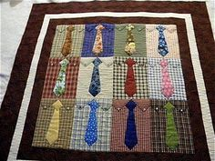 Unused ties and old shirts make a beautiful blanket