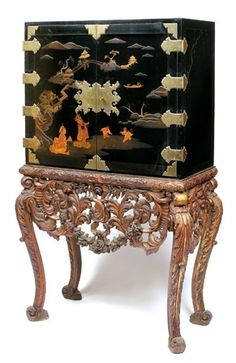 A CHINOISERIE LACQUERED CABINET & stand - I like each piece... not sure about them together...