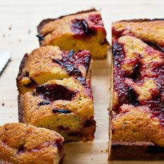 Crunchy cornmeal with the sweet and tart of plums.