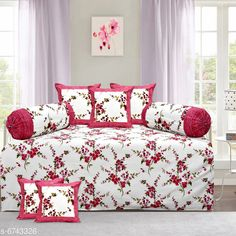 Diwan Sets Printed Pure Cotton 90 X 59 Diwan Set  Bedsheet Fabric: Cotton Bolster Cover Fabric: Cotton Cushion Cover Fabric: Cotton No. of Bedsheets: 1 No. of Bolster Covers: 2 No. of Cushion Covers: 5 Thread Count: 180 Print or Pattern Type: Solid Multipack: 1 Sizes:  Free Size (Bedsheet Length Size: 90 in Bedsheet Width Size: 59 in Bolster Cover Length Size: 32 in Bolster Cover Width Size: 15 in Cushion Cover Length Size: 15 in Cushion Cover Width Size: 15 in) Country of Origin: India Sizes Available: Free Size   Catalog Rating: ★4.3 (2222)  Catalog Name: Printed Pure Cotton 90 X 59 Diwan Set CatalogID_1075262 C117-SC1107 Code: 957-6743326-4791