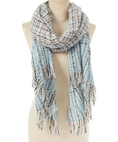 Another great find on #zulily! Creative Accessories  Blue Plaid Fringe Scarf by Creative Accessories  #zulilyfinds