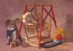 """SOLD at Lewis Art Gallery in February 2015, """"Friends Old and New"""" has a doll and bears in Americana colors of red, golden brown, and dark blue.  It has an apple, wood blocks, an enamelware bowl, the artist's papillon dog, a vintage wooden doll swing and a yarn ball.  The nostalgic art by Nancy Lee Moran, size 5 x 7 inches, is oil painting on board. #apple #oilpainting #art #Americana #enamelware #dog #papillon #doll #teddybear"""