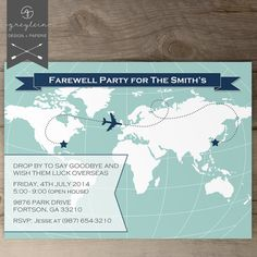 World Map Going Away Party Invitations / Goodbye Party Invites