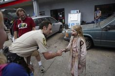 Rick meets a zombie child after filming