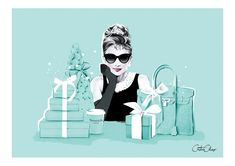Tiffany OFF! Breakfast at Tiffanys by Fashion illustrator Cristina Alonso Tiffany And Co, Tiffany Blue, Tiffany Theme, Breakfast At Tiffany's Quotes, Audrey Hepburn Pictures, Diy Girlande, Breakfast At Tiffanys, Fashion Pictures, Fashion Art