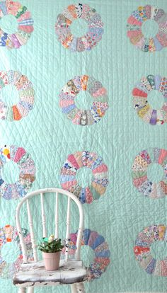 Vintage Quilt   Dresden Plate Pattern  Feedsack Fabric by KOLORIZE, $195.00