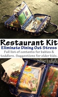 Create a Restaurant Kit with all the essentials you need to eliminate the stress of dining out with kids. Keep it in the car, and you'll always be prepared! You'll find a full list of contents for babies and toddlers, as well as suggested contents for old