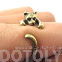 Adorable Kitty Cat Animal Pet Wrap Around Hug Ring in Brass - Size 3 to Size 8.5 - $11.50 #cats #kittens #animals #jewelry #rings #cute
