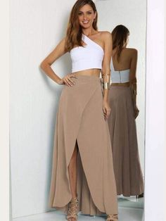 Saia longa - o click fashion saia envelope longa, saia no joelho, saia Maxi Skirt Outfits, Chic Outfits, Dress Skirt, Maxi Skirt Outfit Summer, Summer Maxi, Summer Skirts, Brown Maxi Skirts, Long Skirts, Look Fashion