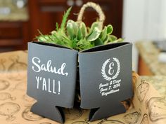 "Diego is from Mexico, and Jamie is from Birmingham, so why not have koozies that say ""Salud, Y'all!"" which means ""Cheers, Y'all!"" Photo by SCB Photography #alabamaweddings #thesonnethouse #southernweddings"