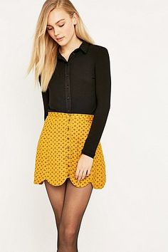 Urban Outfitters Scallop-Edge Yellow A-Line Skirt - Urban Outfitters
