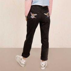 Angel Butt Mom dames spijkerbroek jeans met hoge taille donker grijs