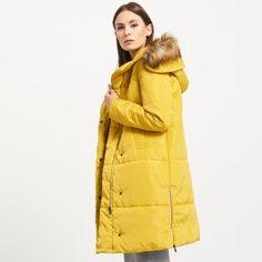 Prešívaný kabát s kapucňou