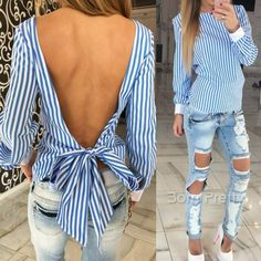 $11.56 1Pc Sexy Halter Straps Hollow Striped Long Sleeve Shirt Women's Clothing…