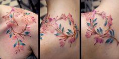 Branch Cherry infinity without black outline tattoo by Kaifa Ramo ciliegio infinito senza contorno nero Tattoo di Kaifa