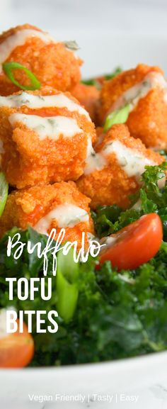 Baked Buffalo Tofu Bites These crispy Buffalo Tofu Bites are amazing! Super easy to put together and taste great! They are baked (not fried) and cook in minutes. These tasty vegan buffalo bites are perfect for topping your salad, adding them to a wra Veggie Recipes, Whole Food Recipes, Cooking Recipes, Healthy Recipes, Best Tofu Recipes, Recipes With Tofu Vegan, Cooking With Tofu, Cooking Cake, Cooking Salmon