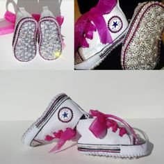 Size: months SIMPLY STUNNING Baby Concerse Style Baby Shoes Completely Covered in Crystals. These shoes are the ultimate bling shoes Baby Shower Gifts, Baby Gifts, Shower Baby, Designer Baby Shoes, Newborn Shoes, Baby Converse, Crystal Shoes, Bling Shoes, Christening Gifts