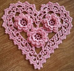 Irish Crochet Roses Heart, Free Crochet Pattern...Gorgeous! must click to enlarge pattern pic, then save :)  (this is an updated link)