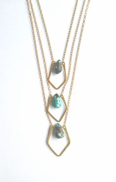 Tiny Turquoise Brass Necklace