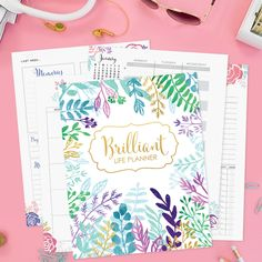 I LOVE the Brilliant Life Planner and you will too! Set and keep goals, track habits, and keep everything organized in one place! Free Planner, Blog Planner, Printable Planner, Planner Ideas, Free Printables, Planner Organization, Business Organization, Organizing, School Videos