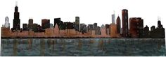 SMW339 Custom Metal Decor Wall Art Chicago Skyline - Sunriver ...