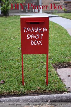 You have seen a Santa mail box but have you seen a prayer box? Very cute DIY prayer box and very inspiring! Prayer Wall, Prayer Box, Prayer Ideas, Prayer Corner, Prayer Flags, Church Outreach, Church Bulletins, Prayer Stations, Prayer Garden