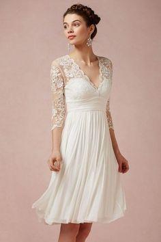 Robe de mariée courte à manche 3/4 en dentelle bohème mi longue