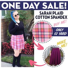 Girl Charlee 24-Hour FLASH Fabric Sale is going on now! Today only, take home two beautiful Plaid Cotton Spandex Blend Knit Fabrics for only $2/yard! Our own talented Rachel sewed up this stylish Sybil Illusion Skirt from Love Notions using her Sarah Plaid, and we just LOVE how it turned out! Shop now at girlcharlee.com/specials.php