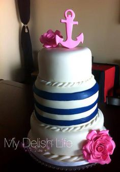 Navy Pink and White Baby Shower Cake