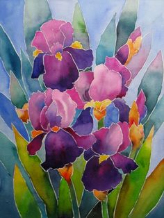 Watercolor Stained Glass Iris - SOLD, painting by artist Nel Jansen