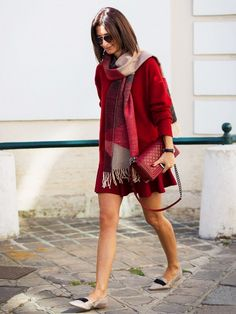street style, red outfit
