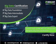 In today's time, organizations are always in search of Big Data professionals capable enough of managing voluminous chunks of data of the organizations or businesses. Big Data is a term used for describing data that is too large and complex to store. If you are well versed with the big data techniques and principles, then rush to get certified by an International credential of Beingcert Big Data certification . Big Data, Organizations, Certificate, Foundation, Career, How To Get, Learning, Search, Store