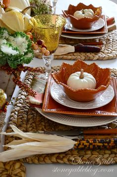 THANKFUL FOR HOME~ COUNT YOUR BLESSINGS! - StoneGable .... love the orange leaf bowls with white plates..very pretty...
