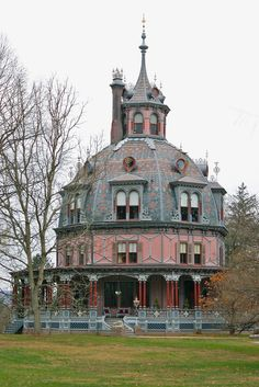 The Armour-Stiner House, also known as the Carmer Octagon House, Irvington, NY — a unique octagon-shaped and domed Victorian style house built in 1859-1860 by financier Paul J. Armour. The octagon style has been referred to as the brain house, and rightfully so. Before he designed houses, architect Orson Fowler practiced phrenology, the study of the skull's bumps and contours to determine one's character.