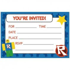 Boy Party Supplies Robotz Invitations Invites Thank Yous
