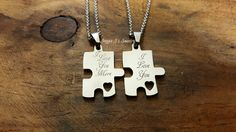 I Love You and I Love You More Stainless Steel Puzzle Piece Necklace Gift Set, His and Hers Necklace Set, Engraved Puzzle Couples Gift Set by JazzieJsJewelry on Etsy