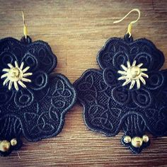 Check out this item in my Etsy shop https://www.etsy.com/listing/452084566/black-statement-cotton-lace-earrings