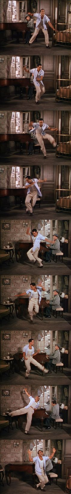 "Gene Kelly Non-stop tap dancing"" An American in Paris"" 1951"