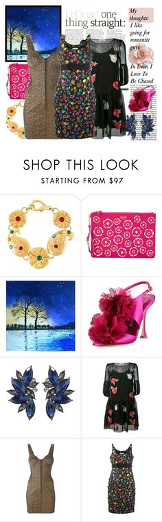"""""""Everything Flowers"""" by osmianannya ❤ liked on Polyvore featuring Kenzo, Moschino, Manolo Blahnik, Blugirl, Jean-Paul Gaultier, dress, shoes, jewelry, art and handbag"""